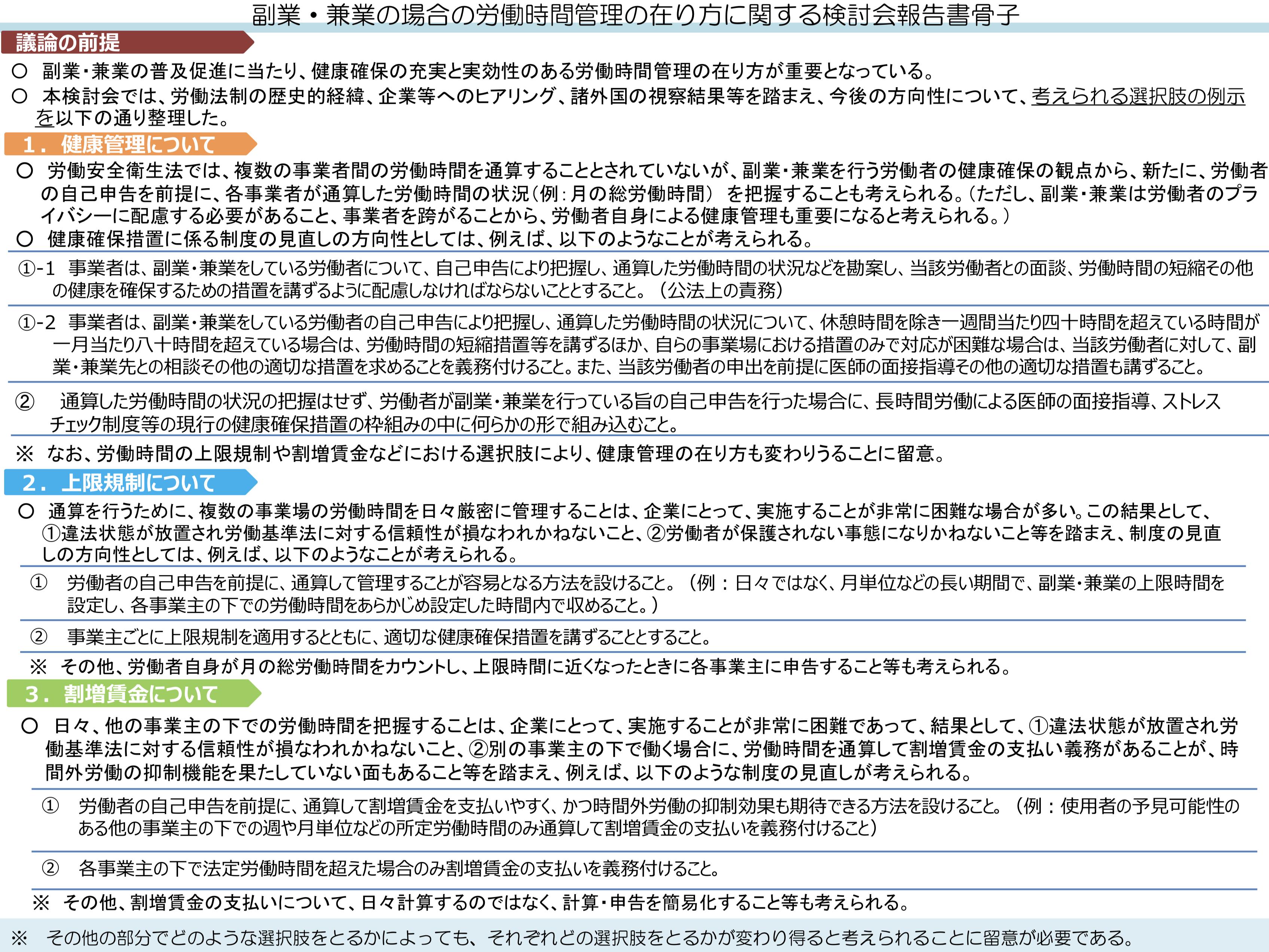 副業・兼業の場合の労働時間管理の在り方に関する検討会報告(令和元年8月8日)